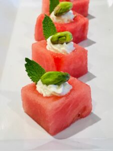 Watermelon Cubes with Feta and Pistachio
