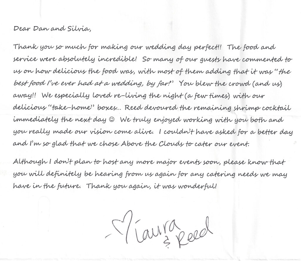 Laura and Reed thank you note