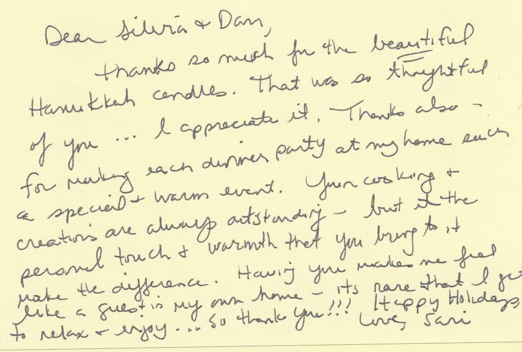 Sari thank you note