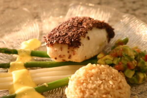 Halibut with Tortilla Chip Crust
