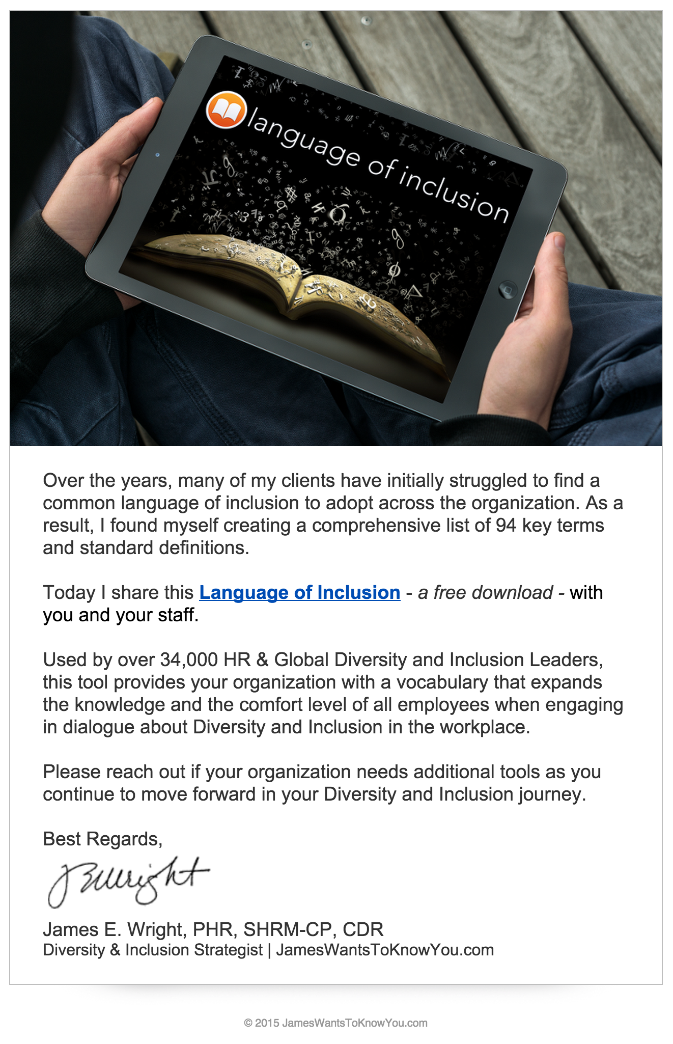 Language Of Inclusion Email