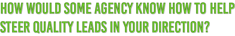 How would some agency know how to help steer quality leads in your direction?