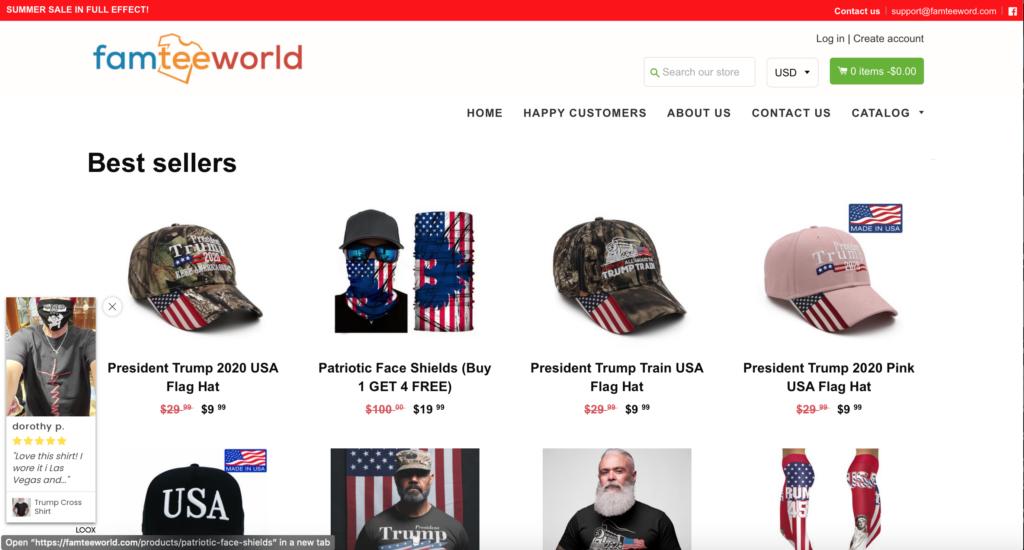 screenshot of famteeworld.com home page