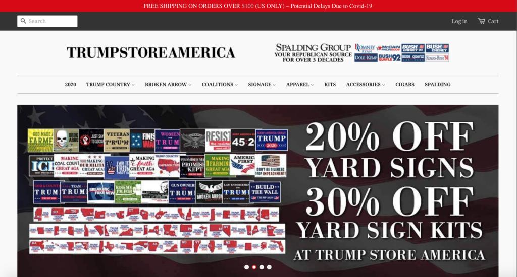 screenshot of Trumpstore2020.com