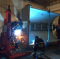 15,000 lb Capacity Welding Positioner with Mobile Tailstock Increases Productivity