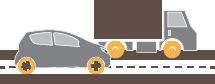 Vehicles on road.