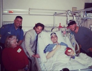 Jeff Bauman in the hospital after the Boston Marathon bombing