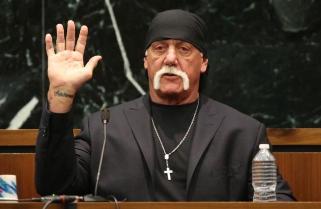 Terry Bollea, aka Hulk Hogan, takes the oath in court during his trial, via Reuters