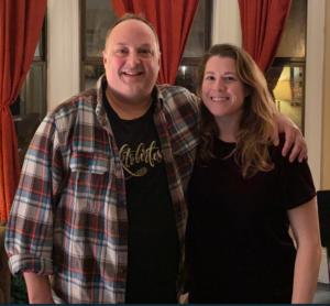 Host Paco Romane with guest comedian Brooke Heinichen