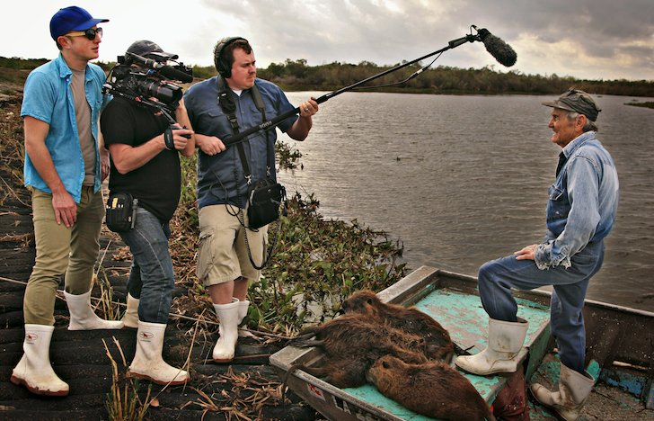 Rodents of Unusual Size film still: the filmmakers on the Louisiana swamp
