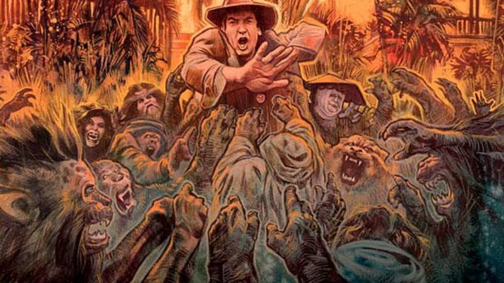 imagery from the cover of Lost Soul from Severin Films. A man in a safari hat resembling Richard Stanley is surrounded by beast people and Marlon Brando from The Island of Dr. Moreau.