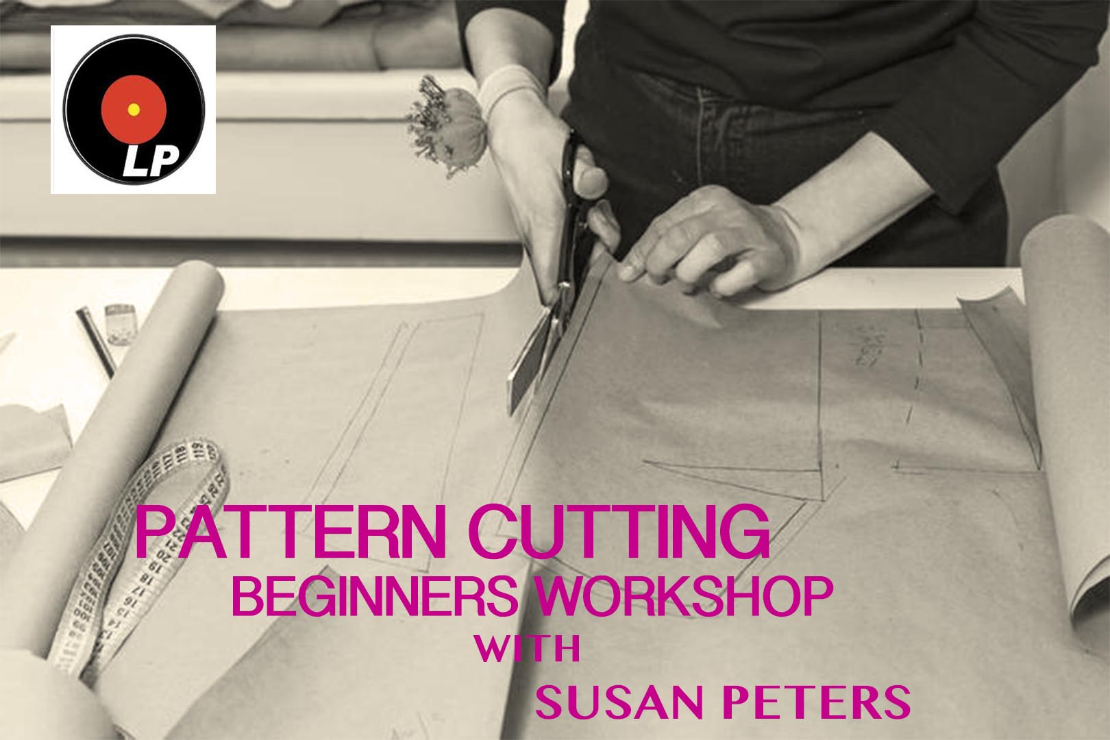 91739206 - seamstress is cutting drawing for a dress with scissors. style and design development and creating garment, clothes sew and repair service, seamstress at work concept