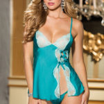 Shirley Of Hollywood Satin with Lace Chemise & Thong