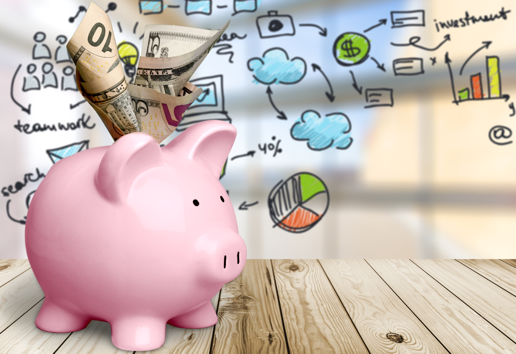 Piggy bank with cash coming out logo