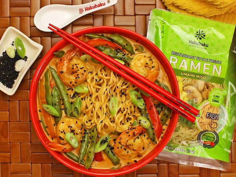 coconut shrimp curry ramen noodle bowl