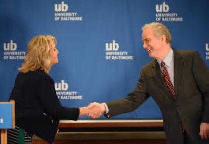 Candidates shaking hands. Kathy Szeliga and Chris Van Hollen