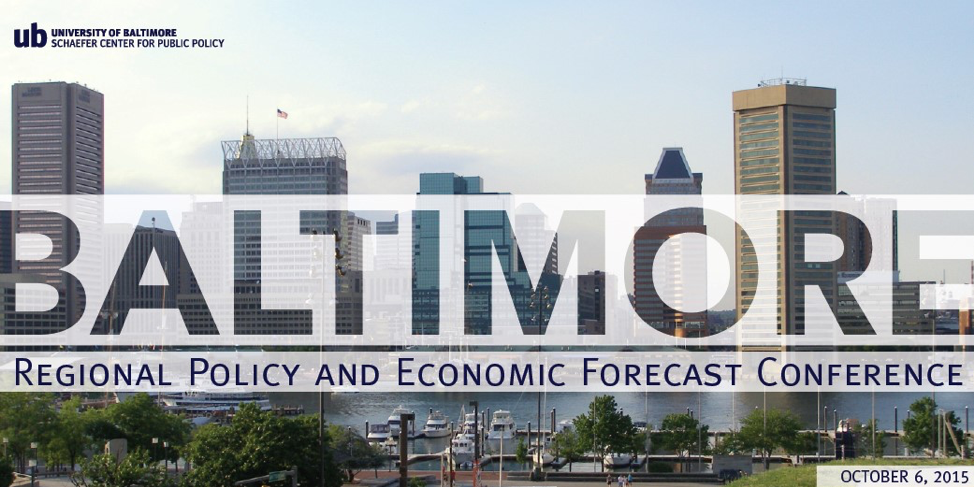 Conference Graphic: Logo – University of Baltimore Schaefer Center for Public Policy. Baltimore Regional Policy and Economic Forecast Conference