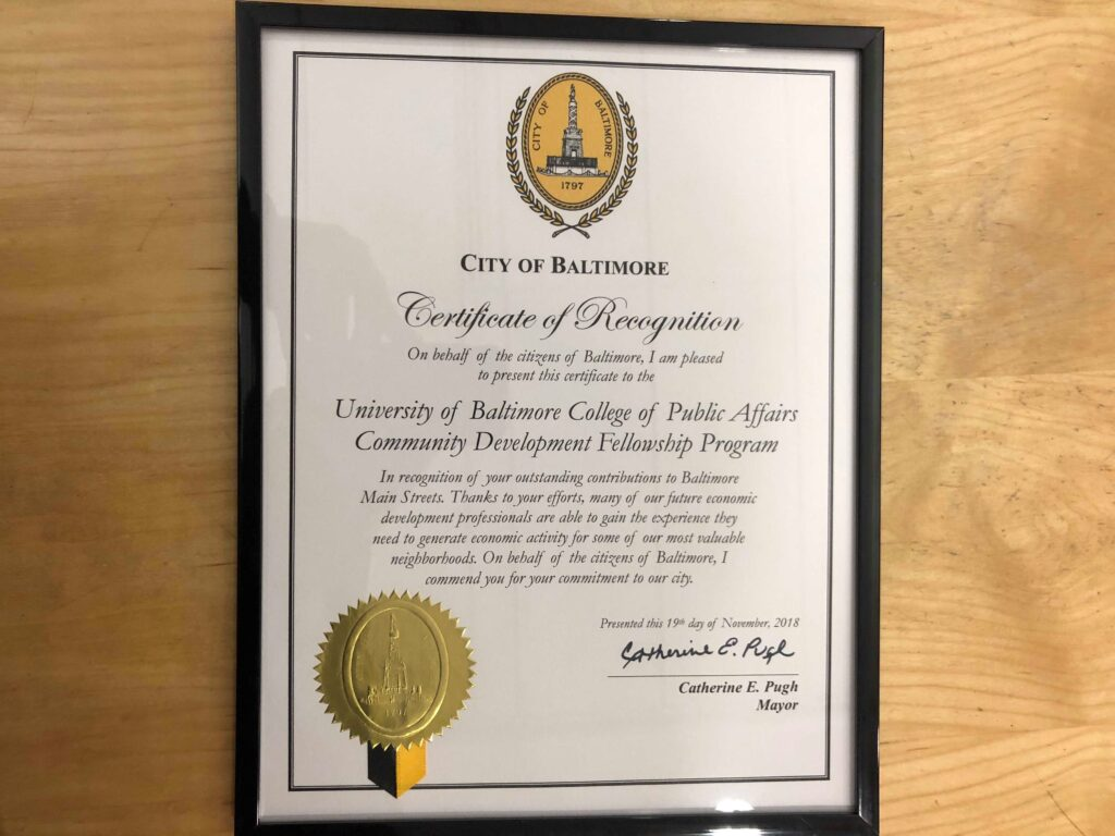 City Recognition of Community Development Fellows