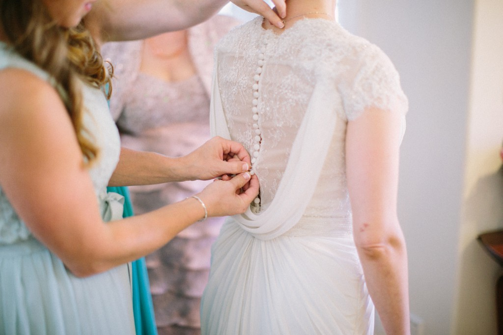 bride getting ready dress