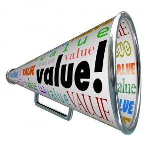 A bullhorn or Megaphone with the word Value to stress a company