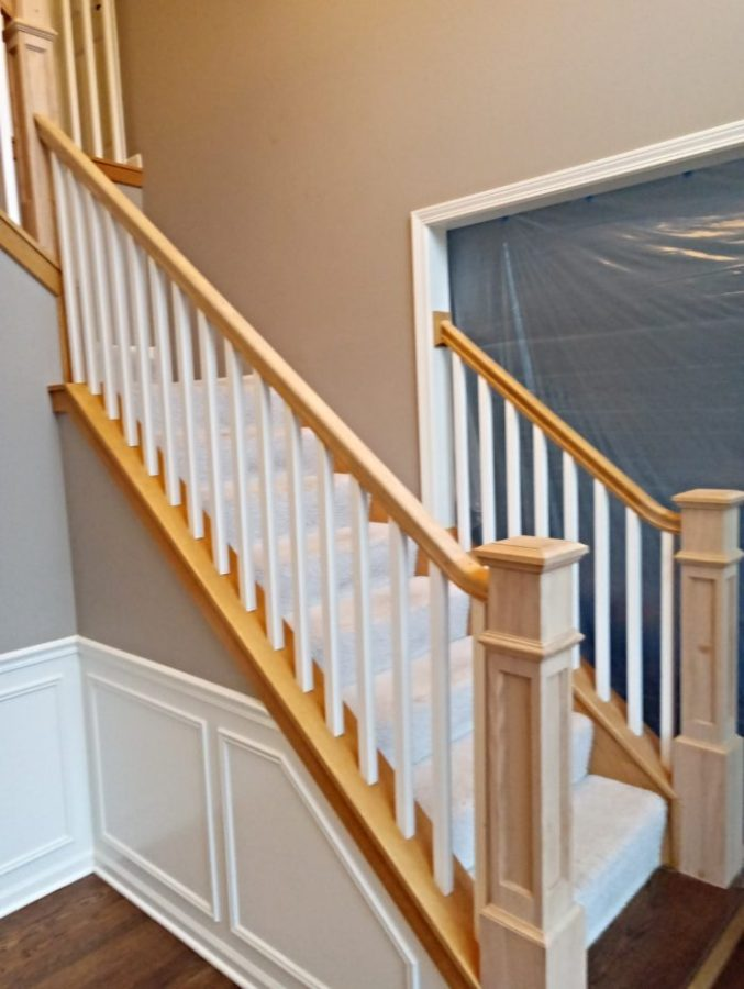Stained Top Stairs Process