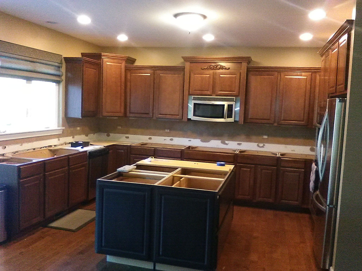 Maple to White Cabinets Before