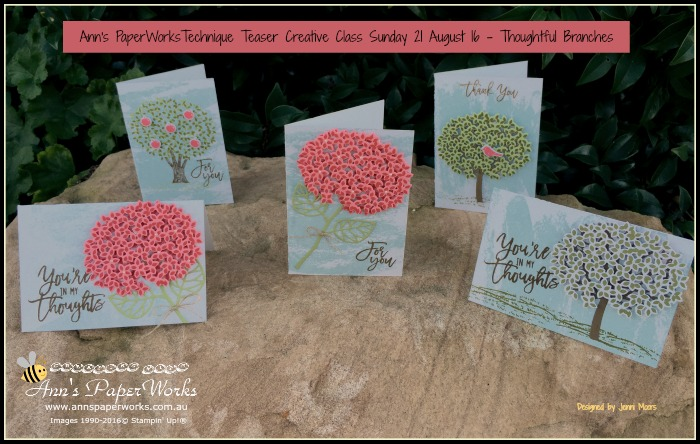 Thoughtful Branches Bundle Technique Teasers Ann's PaperWorks Ann Lewis Stampin' Up! (Aus)  August card making class