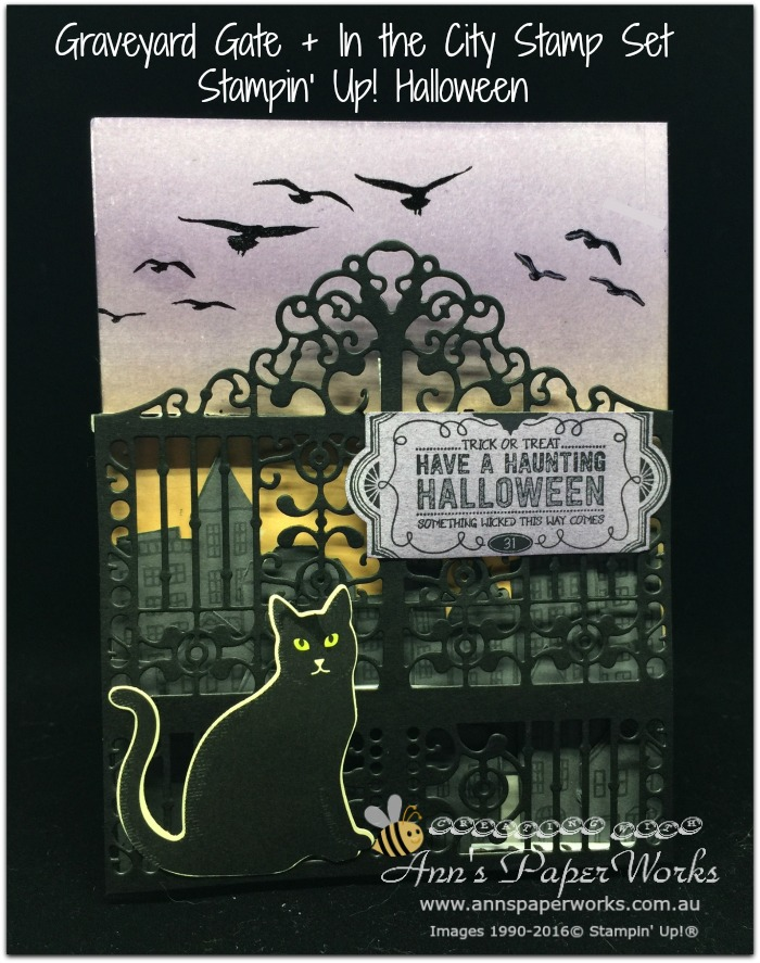 Halloween Graveyard Gate, cat punch, Stampin' Up! 2017 Christmas Holiday Catalogue Ann's PaperWorks  Ann Lewis  Stampin' Up! (Aus) online store 24/7