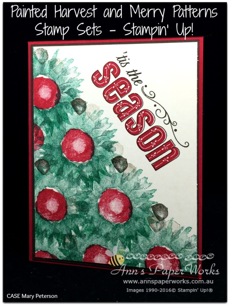 Painted Harvest Stamp Set, Merry Patterns Stamp Set, Stampin' Up! 2017 Christmas Holiday Catalogue Ann's PaperWorks| Ann Lewis| Stampin' Up! (Aus) online store 24/7