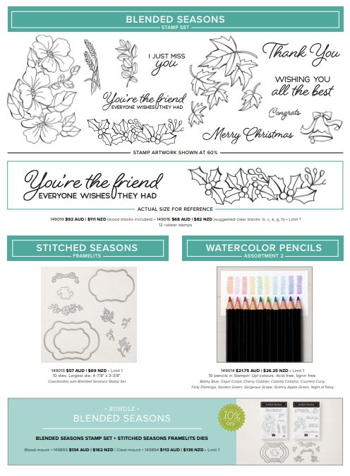 Blended Seasons Bundle by Stampin' Up!, Stitched Seasons Framelits Dies, Bonus coupon days, Stampin' Up! 2018-19 Catalogue Ann's PaperWorks| Ann Lewis| Stampin' Up! (Aus) online store 24/7