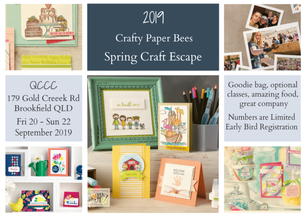 Crafty Paper Bees Retreat, Crafty paper Bees Spring Craft Escape, Scrapbooking, cardmaking, Brisbane, Australia, Crafty Paper Bees, 2019-20 Stampin' Up! Annual Catalogue, 2019 Christmas Catalogue, Ann's PaperWorks Ann Lewis Stampin' Up! (Aus)  online store 24/7