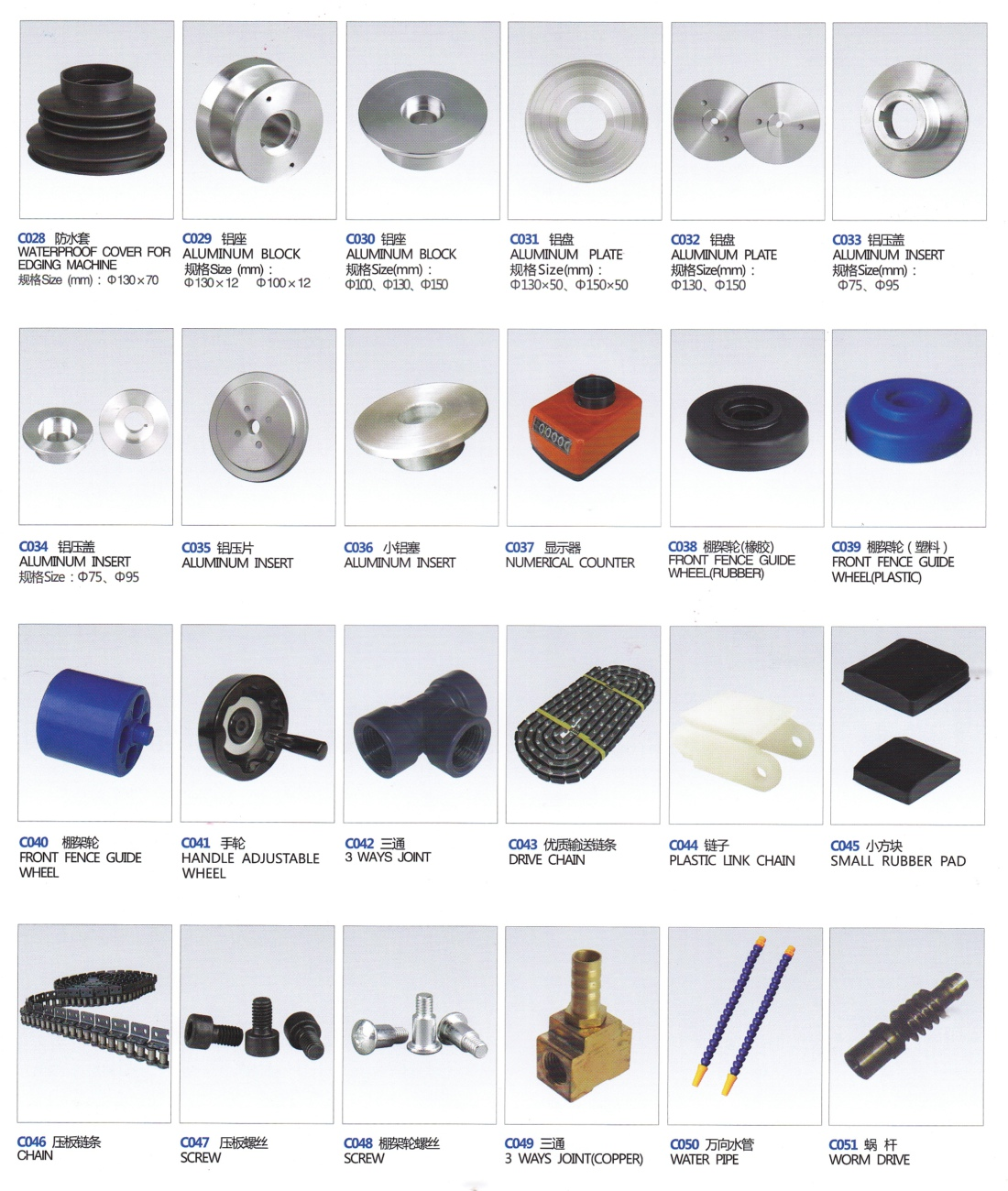 17_Wheels&Accessories for Straight Line Glass Edging Machine