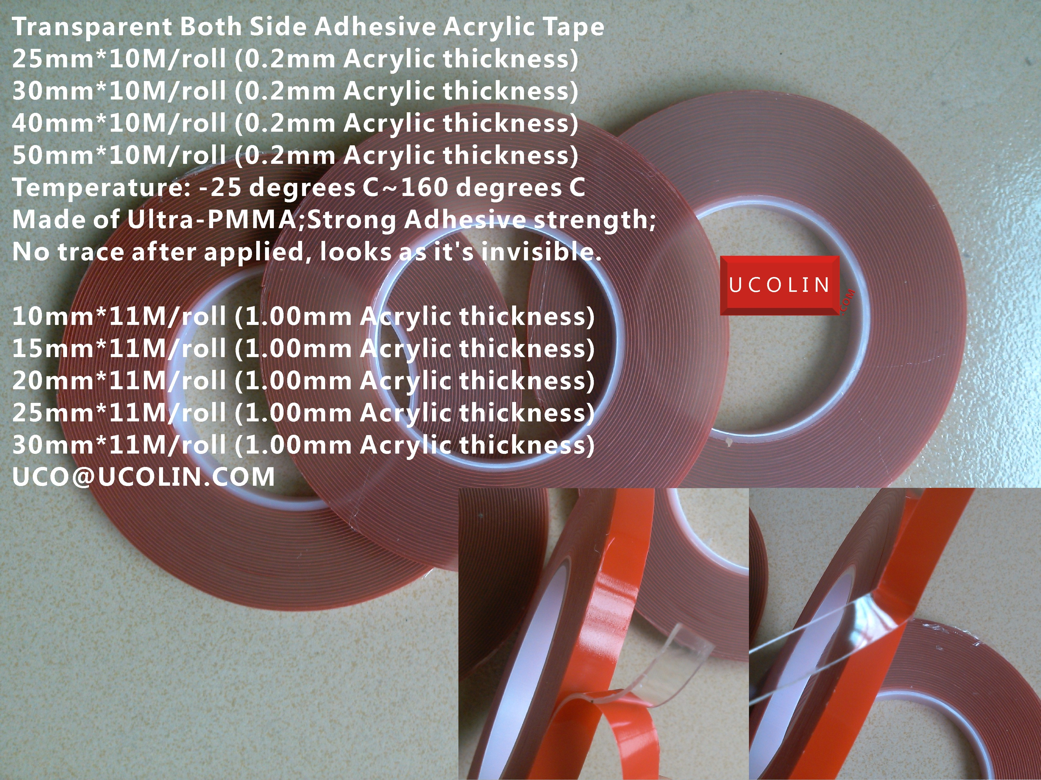 Transparent Both Side Adhesive Acrylic Tape