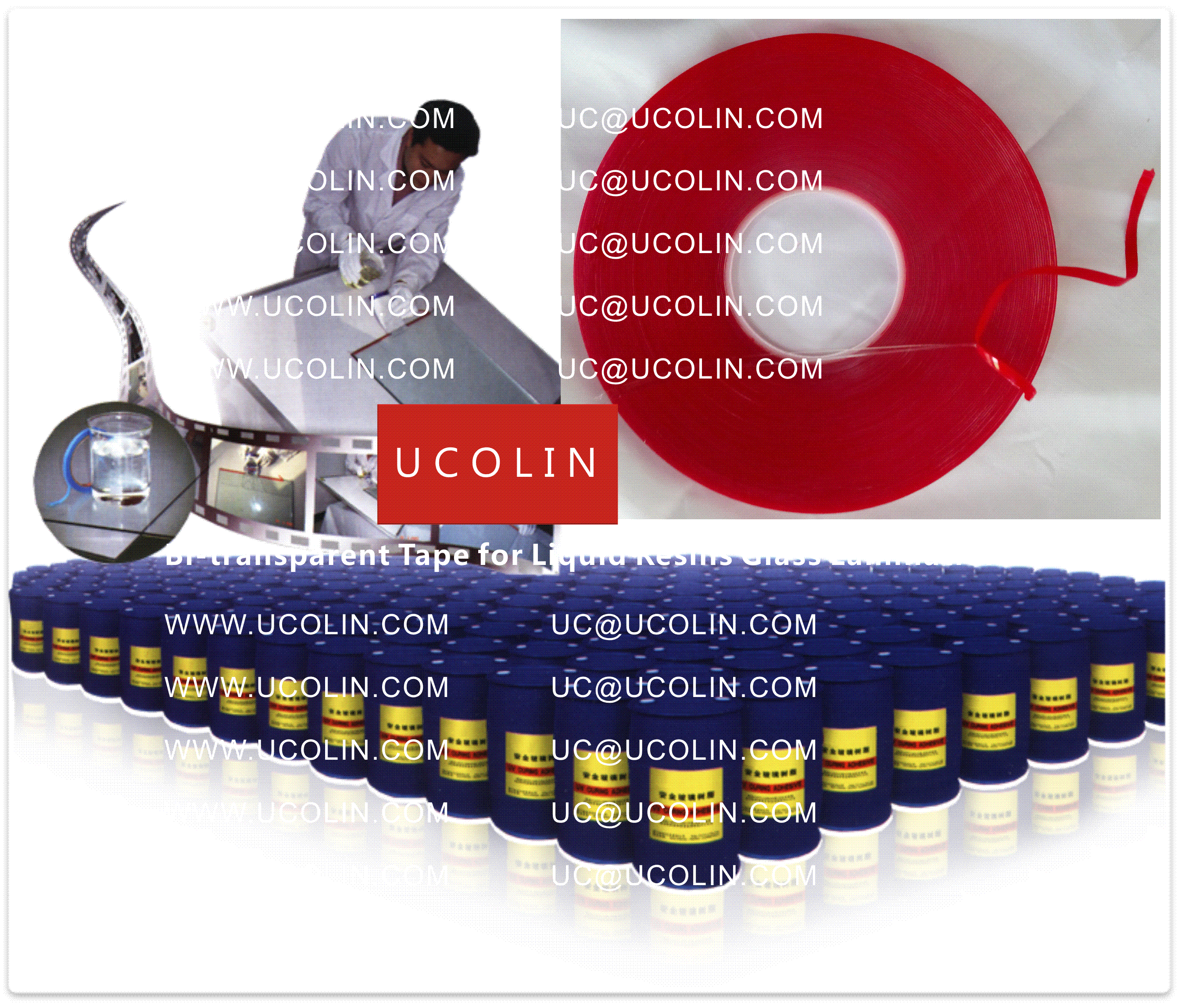 001 Bi-transparent Tape for Liquid Resins for Glass Lamination
