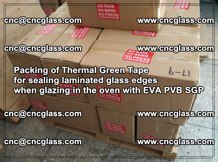 Packing of Thermal Green Tape for sealing laminated glass edges (14)