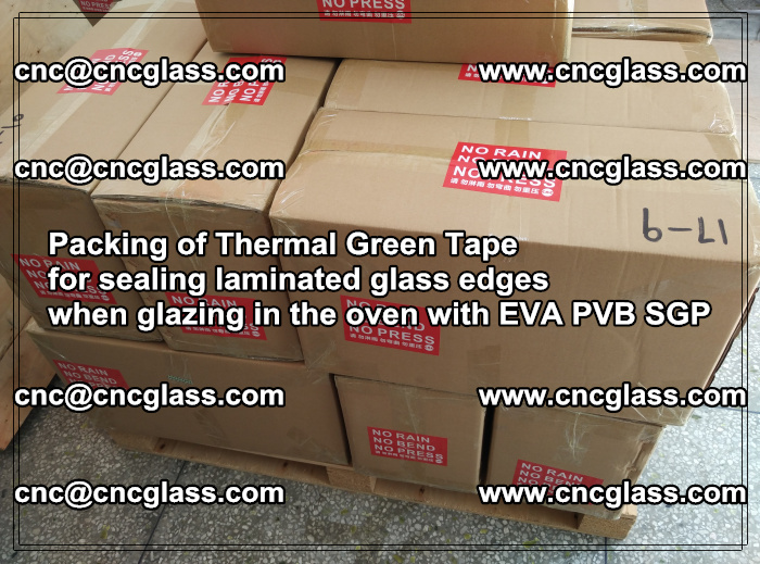 Packing of Thermal Green Tape for sealing laminated glass edges (85)