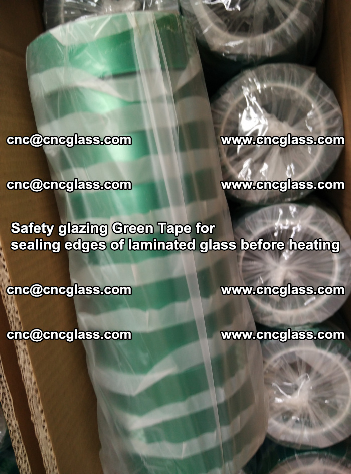 Safety glazing Green Tape for seal edges of laminated glass before heating (59)
