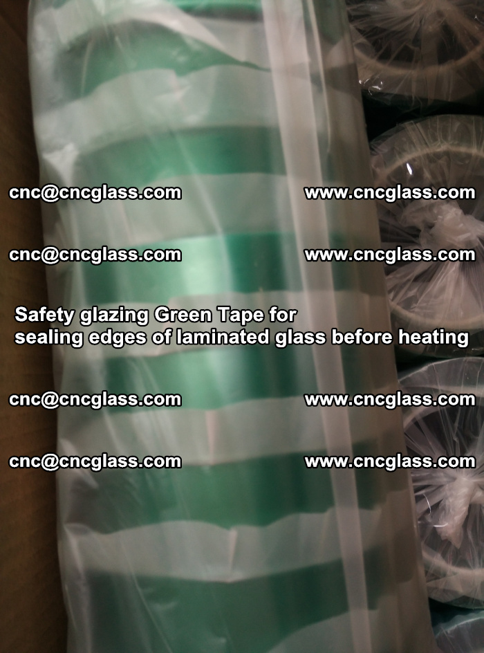 Safety glazing Green Tape for seal edges of laminated glass before heating (65)