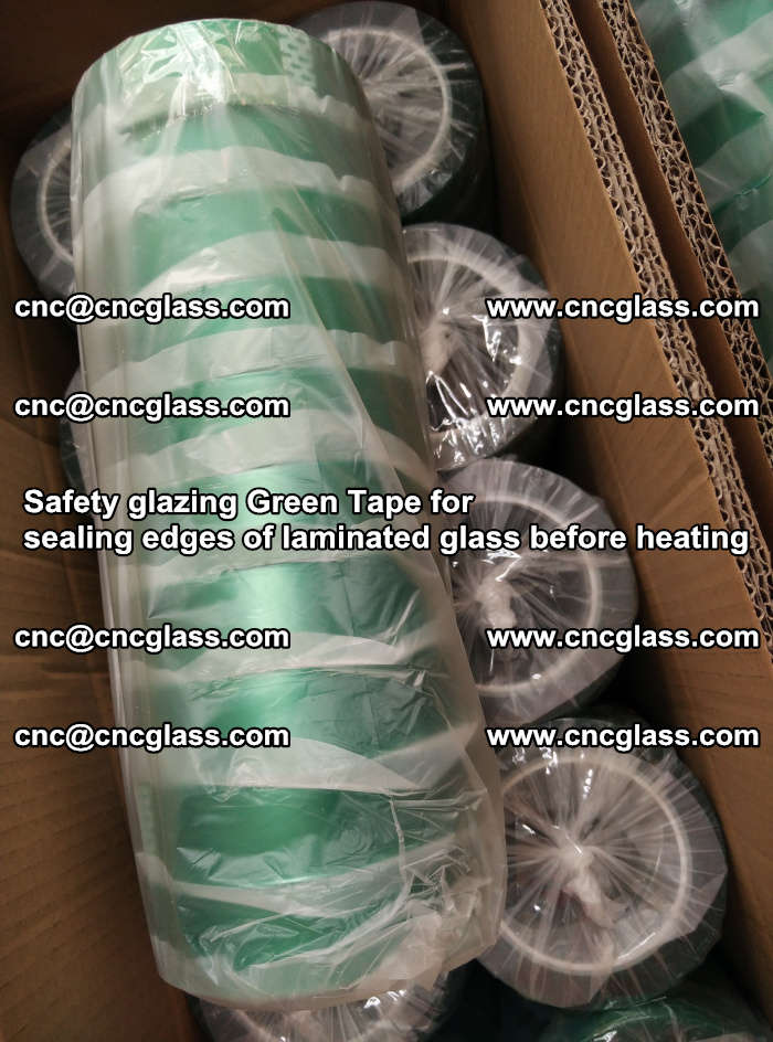 Safety glazing Green Tape for seal edges of laminated glass before heating (69)