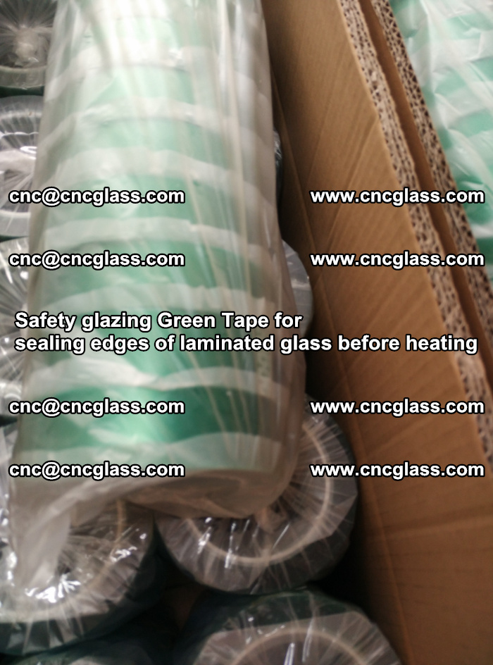 Safety glazing Green Tape for seal edges of laminated glass before heating (76)