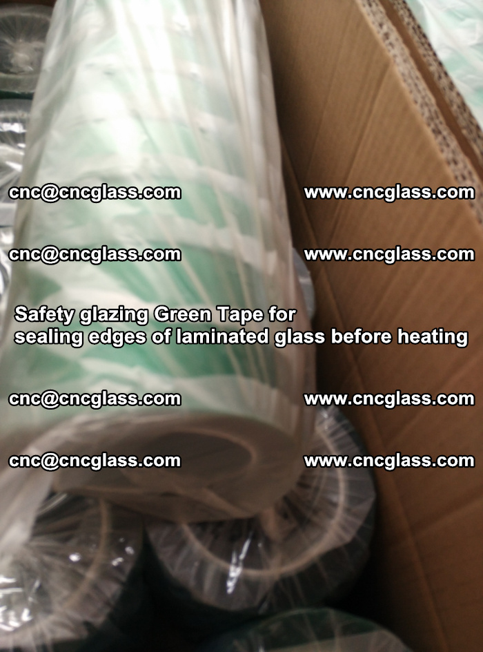 Safety glazing Green Tape for seal edges of laminated glass before heating (78)