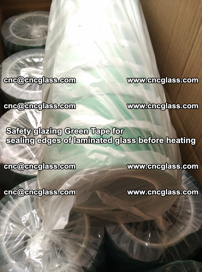 Safety glazing Green Tape for seal edges of laminated glass before heating (79)