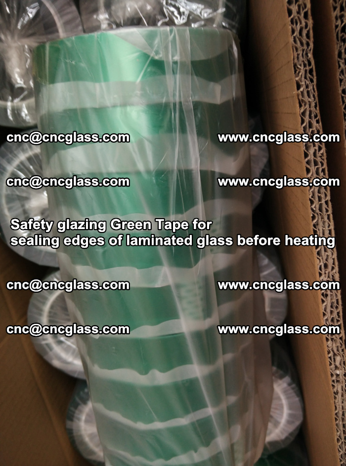 Safety glazing Green Tape for seal edges of laminated glass before heating (90)