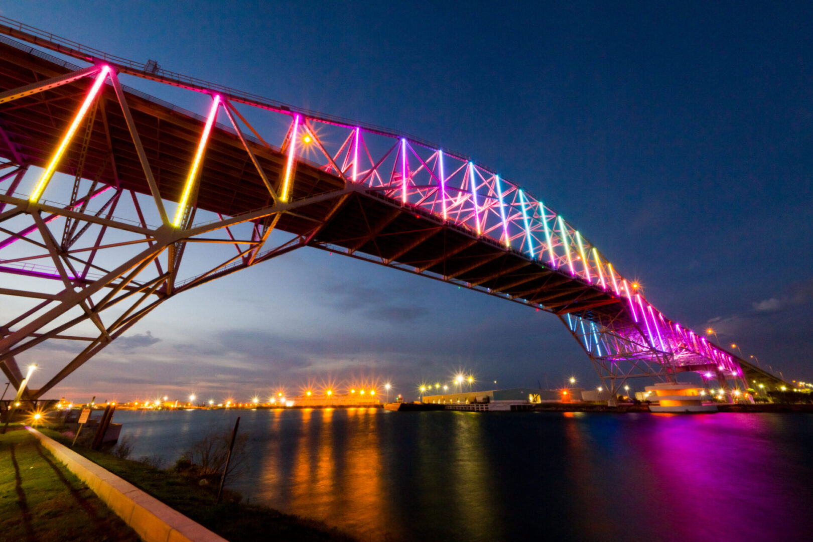 An evening / twilight photo taken of Corpus Christi's Harbor Bridge shortly after it's new lighting system was installed.