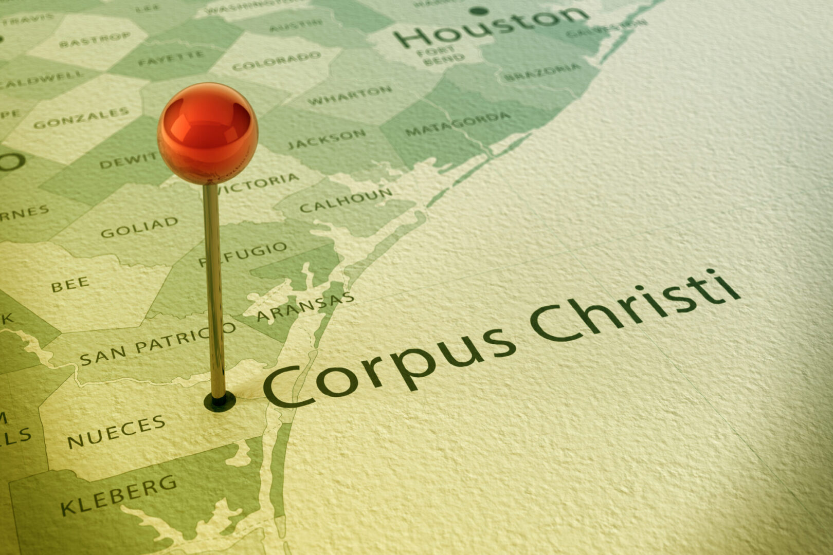 3D Render of a Straight Pin at the Position of the City of Corpus Christi on a Map of Texas. Vintage Color Style. Very high resolution available!