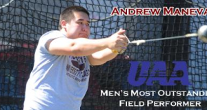 Andrew Maneval Picked as UAA Outdoor Field MOP