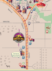 A snapshot of the upcoming visitor map highlighting Crocus Hill Gasoline Alley (purple dashes)