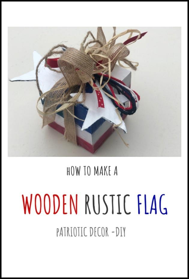 Budget friendly Patriotic home decor ideas. Yarn balls , wooden blocks flag, July 4th home decor ideas. Easy patriotic DIY
