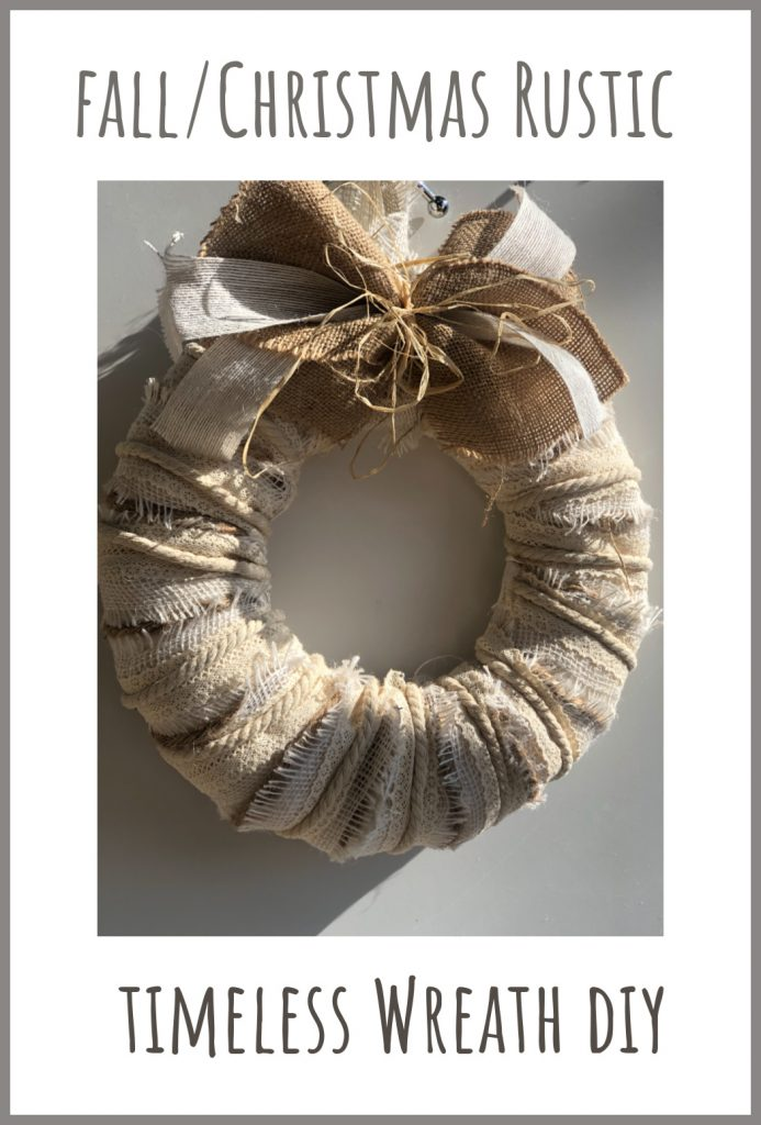 Learn how to make Fall layered wreath timeless with simple burlap, raffia and ribbon bow.White Christmas Wreath
