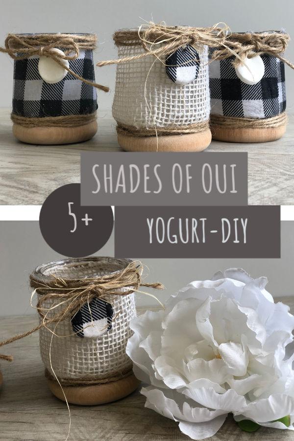 Fun way to use OUI yogurt jars. Buffalo check tags with burlap lining